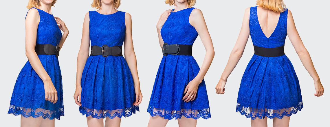 Zdjęcia niebieskiej sukienki typu lookbook bez wizerunku modelki