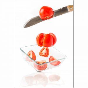 Krojenie pomidorów - fotografia produktowa Orbin