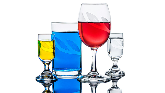 Kieliszki kolor - fotografia produktowa Orbin.pl